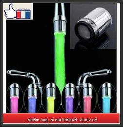 Robinet-mitigeur embout raccord  lumiere LED - 7 couleurs  +